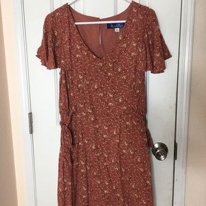 Francesca's orange floral dress vintage vibes